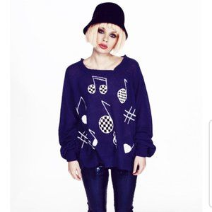 Wildfox Music Party Pfeiffer Blue Sweater Small